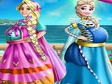 Play Elsa And Rapunzel Pregnant Costumes